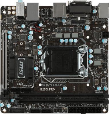 Мат. плата для ПК MSI B250I PRO Socket 1151 B250 2xDDR4 1xPCI-E 16x 4xSATAIII mini-ITX Retail