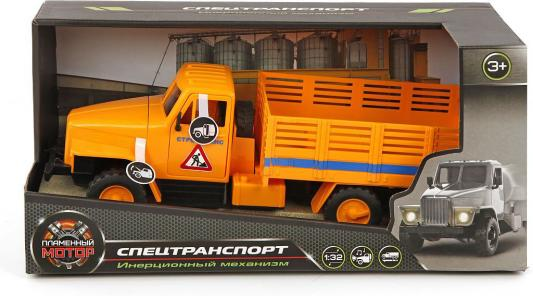 Самосвал Пламенный мотор СтройТранс оранжевый  870041 машина пламенный мотор стройтранс 870041