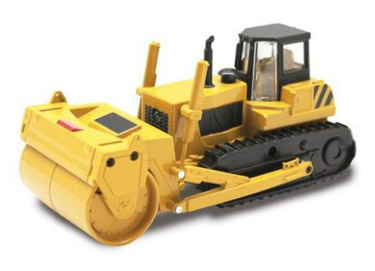 Трактор Пламенный мотор с катком гусеничный желтый 13 см