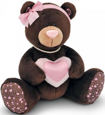 Мягкая игрушка медведь ORANGE Choco Milk с сердцем искусственный мех коричневый 20 см