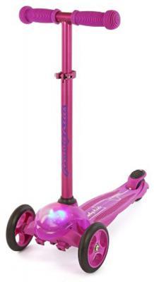 Купить Самокат Moby Kids управление наклоном, свет пурпурный, Трехколесные самокаты для детей