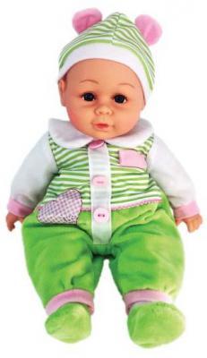 Пупс Shantou Gepai м/н 35 см, костюм салат.в полоску, озвученный, пакет