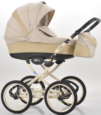 Коляска для новорожденного Mr Sandman Voyage Premium (50% кожа/бежевый перфорированный - бежевый/CH14)