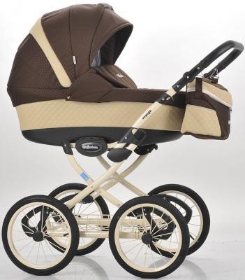 Коляска для новорожденного Mr Sandman Voyage Premium (50% кожа/бежевый перфорированный - коричневый в принт/CH15)