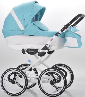 Коляска для новорожденного Mr Sandman Voyage Premium (50% кожа/белый перфорированный - бирюзовый в принт/CH02)