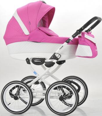 Коляска для новорожденного Mr Sandman Voyage Premium (50% кожа/белый перфорированный - розовый в принт/CH01)