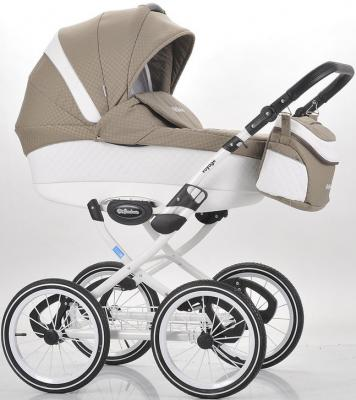 Коляска для новорожденного Mr Sandman Voyage Premium (50% кожа/белый перфорированный - темно-бежевый в принт/CH05)