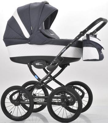 Коляска для новорожденного Mr Sandman Voyage Premium (50% кожа/белый перфорированный - темно-синий/CH11)