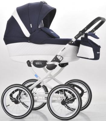 Коляска для новорожденного Mr Sandman Voyage Premium (50% кожа/белый перфорированный - темно-синий в принт/CH04)