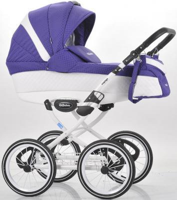 Коляска для новорожденного Mr Sandman Voyage Premium (50% кожа/белый перфорированный - фиолетовый в принт/CH03)