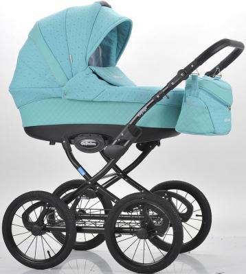Коляска для новорожденного Mr Sandman Voyage Premium (50% кожа/бирюзовый перфорированный - бирюзовый в принт/CH12)