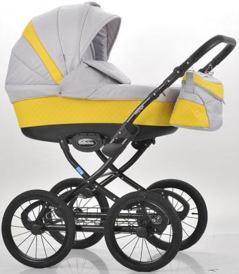 Коляска для новорожденного Mr Sandman Voyage Premium (50% кожа/желтый перфорированный - светло-серый/CH08)