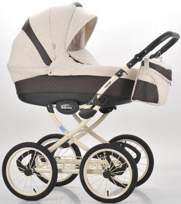 Коляска для новорожденного Mr Sandman Voyage Premium (50% кожа/коричневый перфорированный - бежевый в принт/CH13)
