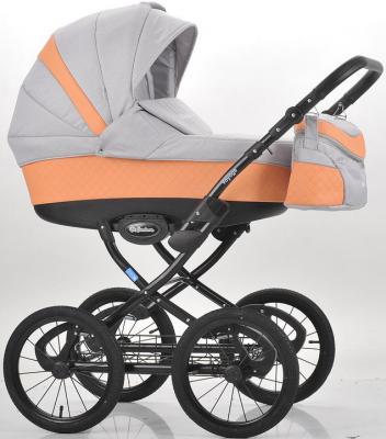 Коляска для новорожденного Mr Sandman Voyage Premium (50% кожа/персиковый перфорированный - серый/CH09)