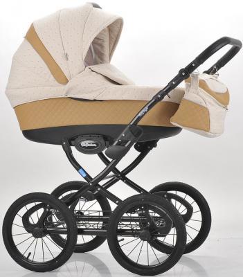 Купить Коляска для новорожденного Mr Sandman Voyage Premium (50% кожа/темно-бежевый перфорированный - бежевый в принт/CH07), Коляски для новорожденных