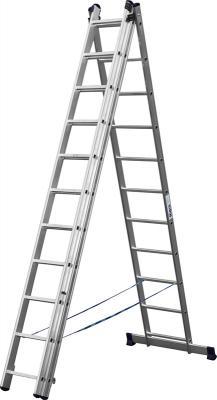 Лестница Сибин универсальнаятрехсекционная со стабилизатором 11 ступеней 38833-11 лестница трехсекционная сибин 3х9 ступеней 38833 09
