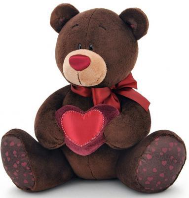 Мягкая игрушка медведь ORANGE Choco Milk с сердцем искусственный мех коричневый 20 см мягкая игрушка собака orange чихуа kiki малиновый блеск текстиль искусственный мех розовый коричневый 25 см ld010