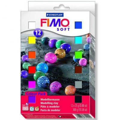 Глина полимерная FIMO soft комплект из 12-ти цветов 802301 самозастывающая полимерная глина минск