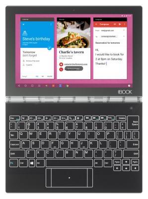 Планшет Lenovo Yoga Book YB1-X90L Atom x5-Z8550 (1.44) 4C/RAM4Gb/ROM64Gb 10.1 IPS 1920x1200/3G/4G/Android 5.1/черный/8Mpix/2Mpix/BT/GPS/WiFi/Touch/microSD 128Gb/mHDMI/minUSB/8500mAh/13hr/до 1380hrs