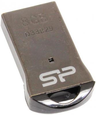 Флешка USB 8Gb Silicon Power Touch T01 SP008GBUF2T01V3K черный/серебристый