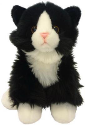Мягкая игрушка кот MAXITOYS Котик сидячий искусственный мех текстиль пластик черный белый 22 см
