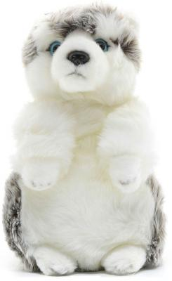 Мягкая игрушка собака MAXITOYS Хаски искусственный мех белый 24 см стоячая