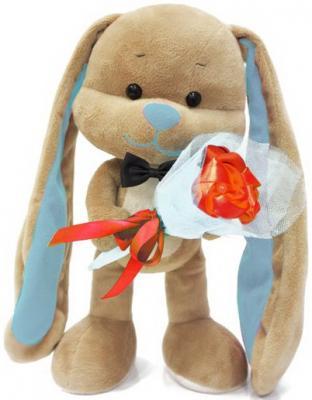Мягкая игрушка заяц Jack Lin Зайчик Жак с букетом искусственный мех плюш пластик бежевый 25 см