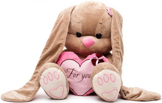 Мягкая игрушка заяц Jack Lin Зайка Лин с сердцем 50 см розовый полиэстер пластик искусственный мех JL-001-50