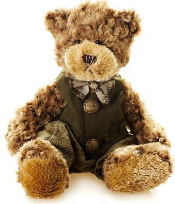 Мягкая игрушка медведь Jack Lin Мишка Рино в одежде искусственный мех текстиль коричневый 23 см