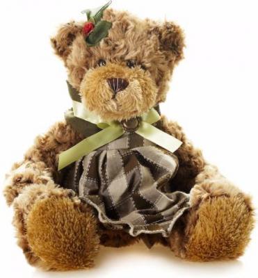 Мягкая игрушка медведь Jack Lin Мишка Рита в Платье плюш коричневый 23 см