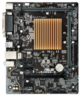 Мат. плата для ПК ASUS J3455M-E с процессором Intel 2xDDR3 1xPCI-E 16x 2xPCI-E 1x 2xSATAIII mATX Retail материнская плата asus h81m r c si h81 socket 1150 2xddr3 2xsata3 1xpci e16x 2xusb3 0 d sub dvi vga glan matx