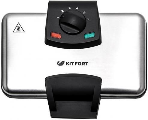 Вафельница KITFORT KT-1606 серебристый чёрный