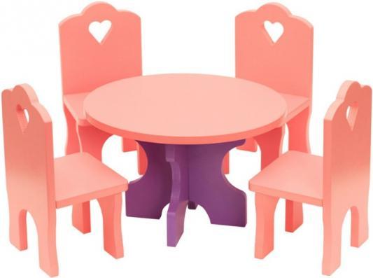 Купить Набор мебели Краснокамская игрушка Столик с четырьмя стульчиками КМ-03, КРАСНОКАМСКАЯ ИГРУШКА, Аксессуары для кукол