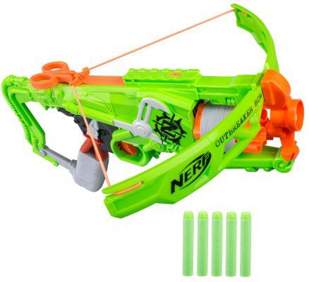 Бластер Hasbro Nerf Зомби Страйк Аутбрейкер зеленый B9093 игрушечное оружие nerf hasbro бластер зомби страйк сайдстрайк
