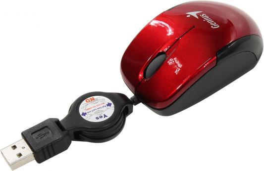 Мышь проводная Genius Micro Traveler V2 (31010125103) красный USB мышь беспроводная genius micro traveler 9000r v3 синий чёрный usb