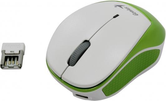 Мышь беспроводная Genius Micro Traveler 9000R V3 зелёный белый USB