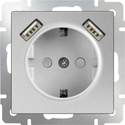 Розетка с заземлением, шторками и USBх2 серебряный WL06-SKGS-USBx2-IP20 4690389073212
