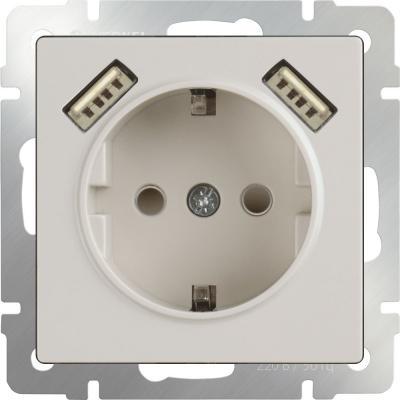 Розетка с заземлением, шторками и USBx2 слоновая кость WL03-SKGS-USBx2-IP20 4690389073205