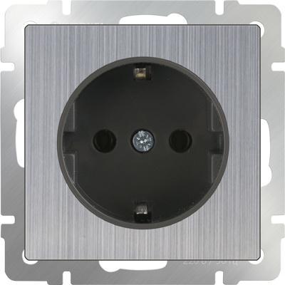 Розетка с заземлением глянцевый никель WL02-SKG-01-IP20 4690389075803