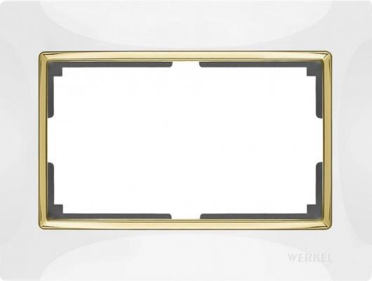 Рамка Snabb для двойной розетки белый/золото WL03-Frame-01-DBL-white/GD 4690389083846