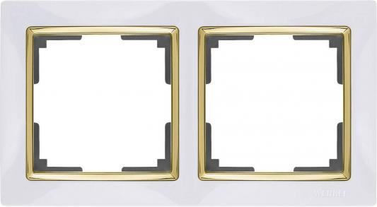 Рамка Snabb на 2 поста белый/золото WL03-Frame-02-white/GD 4690389083884
