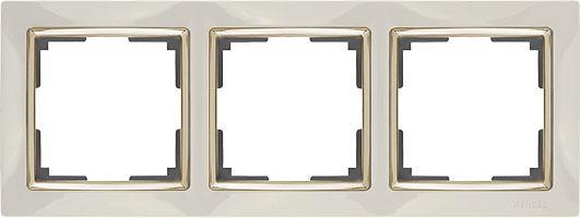 Рамка Snabb на 3 поста слоновая кость/золото WL03-Frame-03-ivory/GD 4690389083907