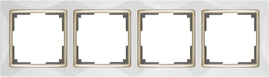 Рамка Snabb на 4 поста белый/золото WL03-Frame-04-white/GD 4690389083938