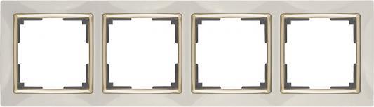 Рамка Snabb на 4 поста слоновая кость/золото WL03-Frame-04-ivory/GD 4690389083914
