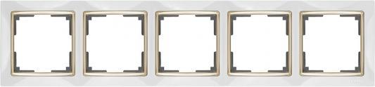Рамка Snabb на 5 постов белый/золото WL03-Frame-05-white/GD 4690389083952
