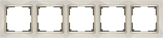 Рамка Snabb на 5 постов слоновая кость/золото WL03-Frame-05-ivory/GD 4690389083945 werkel рамка snabb на 5 постов слоновая кость золото werkel wl03 frame 05 ivory gd 4690389083945