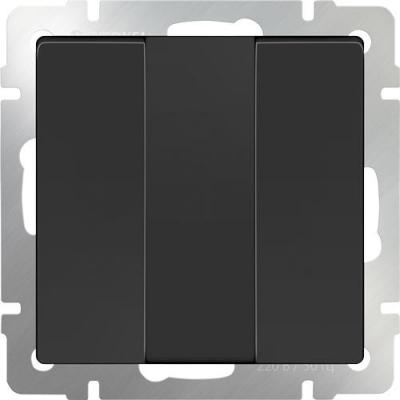 Выключатель трехклавишный черный матовый WL08-SW-3G 4690389073465