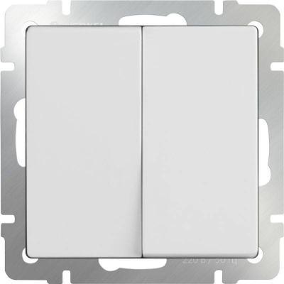 Выключатель двухклавишный проходной белый WL01-SW-2G-2W 4690389045561