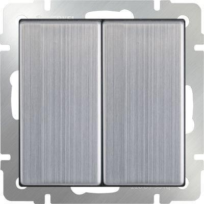 Выключатель двухклавишный проходной глянцевый никель WL02-SW-2G-2W 4690389045769 выключатель двухклавишный наружный бежевый 10а quteo