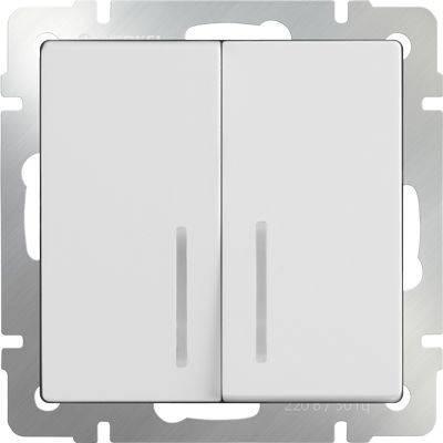 Выключатель двухклавишный проходной с подсветкой белый WL01-SW-2G-2W-LED 4690389059186